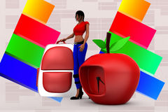 3d Women School  Bag and clock apple illustration Royalty Free Stock Photo