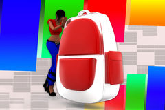 3d Women School  Bag Royalty Free Stock Photography