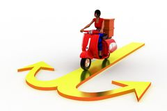 3d women scooter arrow cargo Royalty Free Stock Images