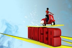 3d women scooter danger illustration Royalty Free Stock Photography