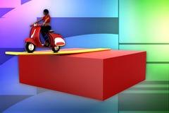 3d women scooter illustration Stock Photos