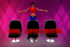 3d Women seat hard expert creative illustration Stock Photos