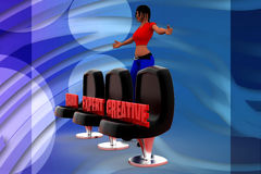 3d Women seat hard expert creative illustration Stock Photo