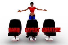 3d Women seat hard expert creative Stock Images