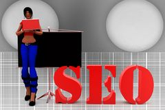 3d Women SEO Illustration Stock Photos