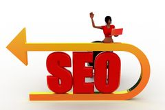 3d women with seo illustration Stock Images