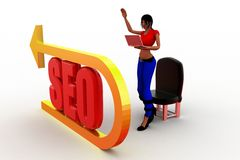 3d women with seo illustration Stock Photography