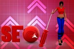 3d Women SEO Optimization Illustration Royalty Free Stock Images