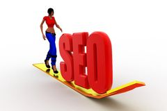 3d Women Seo tag with curve arrow illustration Stock Images