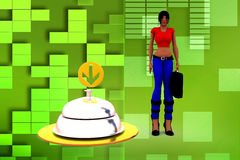 3d Women With Service bell illustration Stock Images