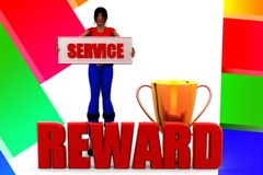 3d women Service reward illustration Stock Photography