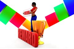 3d women Service reward illustration Stock Photos