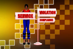 3d women service violation compliance illustration Stock Image
