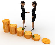 3d women shaking hand before gold coin stakes concept Stock Photography