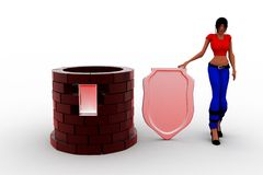 3d women  Shield Castle Royalty Free Stock Photography
