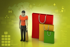 3d women with shopping bag Stock Photos