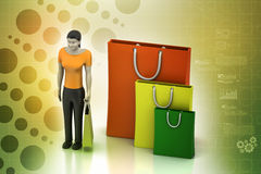 3d women with shopping bag Royalty Free Stock Photography