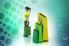 3d women with shopping bag Stock Images
