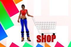 3d women Shopping Stock Photo