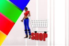 3d women Shopping Stock Photography
