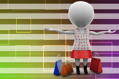 3d women shopping illustration Stock Photo