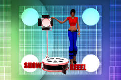 3d Women Show reel illustration Royalty Free Stock Photography