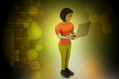 3d women showing laptop Royalty Free Stock Photography