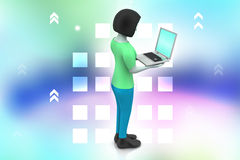 3d women showing laptop. In color background Royalty Free Stock Photo