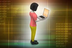 3d women showing laptop. In color background Royalty Free Stock Photography