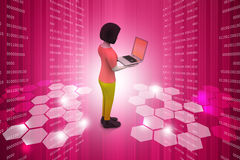 3d women showing laptop. In color background Stock Photos
