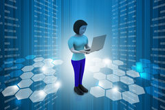 3d women showing laptop. In color background Stock Photography