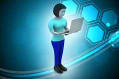 3d women showing laptop. In color background Stock Image