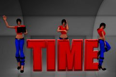 3d women sitting on time text illustration Royalty Free Stock Photo