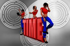 3d women sitting on time text illustration Royalty Free Stock Images