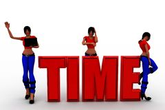 3d women sitting on time text Royalty Free Stock Photos