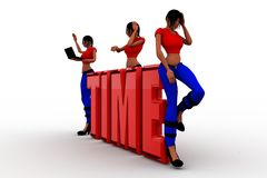 3d women sitting on time text Royalty Free Stock Image