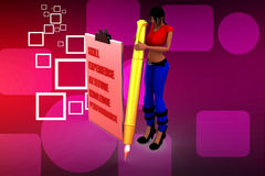 3d Women with skill experience attitude knowledge illustration Royalty Free Stock Image