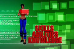 3d women Skills Abilities Knowledge illustration Royalty Free Stock Photo