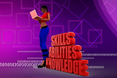 3d women Skills Abilities Knowledge illustration Royalty Free Stock Image