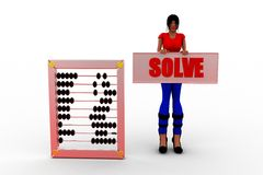3d women solve abacus Stock Photo