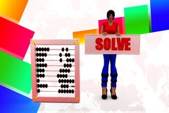 3d women solve abacus illustration Stock Photos