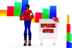 3d women with special offer illustration Royalty Free Stock Photos
