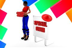 3d women with special offer illustration Royalty Free Stock Images