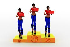3d Women on 1st 2nd 3rd prize Royalty Free Stock Images