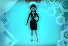 3d women standing illustration Royalty Free Stock Photo