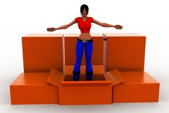 3d women standing  inside a cardboard box Stock Photos