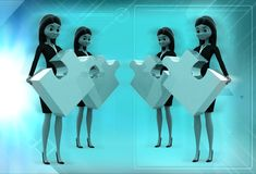 3d women standing with puzzle in hand illustration Royalty Free Stock Image