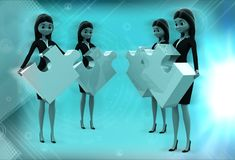 3d women standing with puzzle in hand illustration Stock Photography