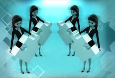3d women standing with puzzle in hand illustration Stock Images