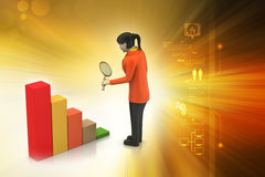 3d women studying the financial graph Stock Photo